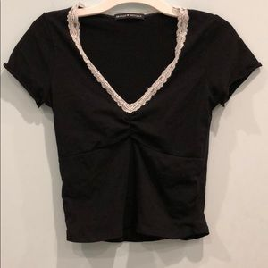 Black Brandy Melville shirt with white lace